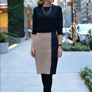 NWOT Ann Taylor Black Tan Zippered Pencil Skirt